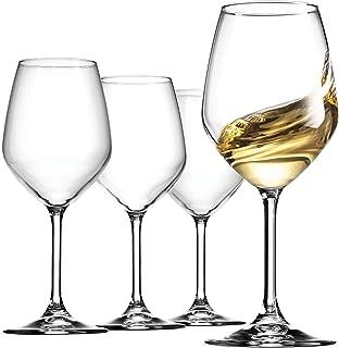 Bormioli Rocco 14.75 oz White Wine Glasses (Set Of 4): Crystal Clear Star Glass, Laser Cut Rim For Wine Tasting, Lead-Free Cups, Elegant Party Drinking Glassware, Dishwasher Safe, Restaurant Quality