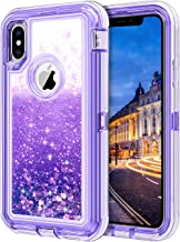 JAKPAK Case for iPhone Xs Case iPhone X Case for Girls Women Glitter Sparkle Case for iPhone Xs Heavy Duty Shockproof Protective Case with Hard PC Bumper TPU Back Cover for iPhone Xs iPhone X Purple