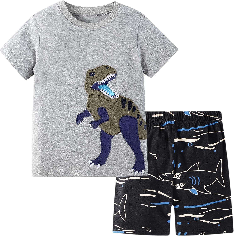 BIBNice Toddler Boys Outfits Summer Clothes Set T-Shirt Shorts Sets Dinosuar Size 7