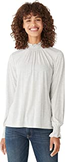 Lucky Brand Women's Long Sleeve Mock Neck Smocked Sandwash Top