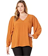 Plus Size Tulle Long Sleeve Blouse