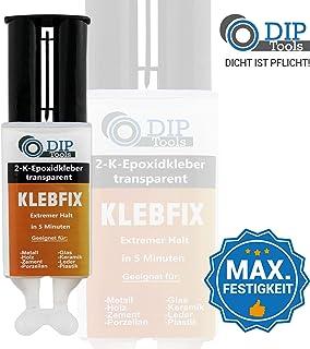 DIP-Tools KLEBFIX - Pegamento Epoxi de 2 Componentes para Madera, Metal, Vidrio, Plástico y Más en Sólo 5 Minutos - transparente (1x25ml)