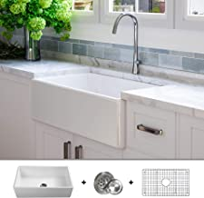 LUXURY 33 inch Modern Farmhouse Ultra-Fine Fireclay Kitchen Sink in White, Single Bowl, Flat Front, includes Grid and Drain, FSW1002 by Fossil Blu