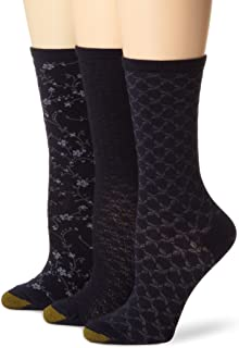 Gold Toe Women's 3-Pack Floral Diamonds and Leaf Patterned Socks