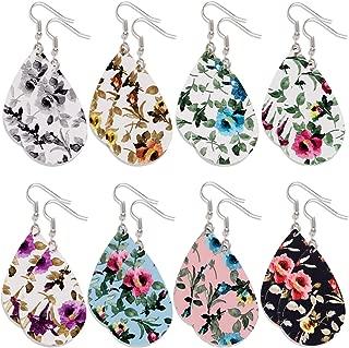 8/9 Pairs Tassel Leather Hoop Earrings Bohemia Fan Shape Drop Fringe Earrings Dangle Eardrop for Women Girls Party Bohemia Dress Accessory