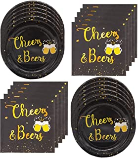 Cheers Beers Birthday Party Supplies,Black and Gold Tablewares(Plates and Napkins),Cheers Beers and Beer Mugs Design Perfe...