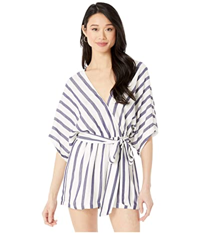 American Rose Maeve Kimono Sleeve Striped Romper (Ivory/Navy) Women