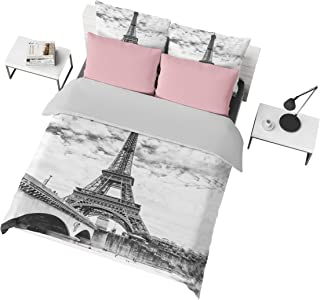 Jwellking 3D Romantic French Paris Eiffel Tower Queen Bedding Sets(1 Duvet Cover,2 Eiffel Tower Pollow Shams),Duvet Cover with Hide Zipper. Gifts to Boys,Girls,Teen,Child,Friends,Family,No Comforter