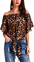 Hibluco Women's Off Shoulder Flare Sleeve Elastic Pullover Crop Top