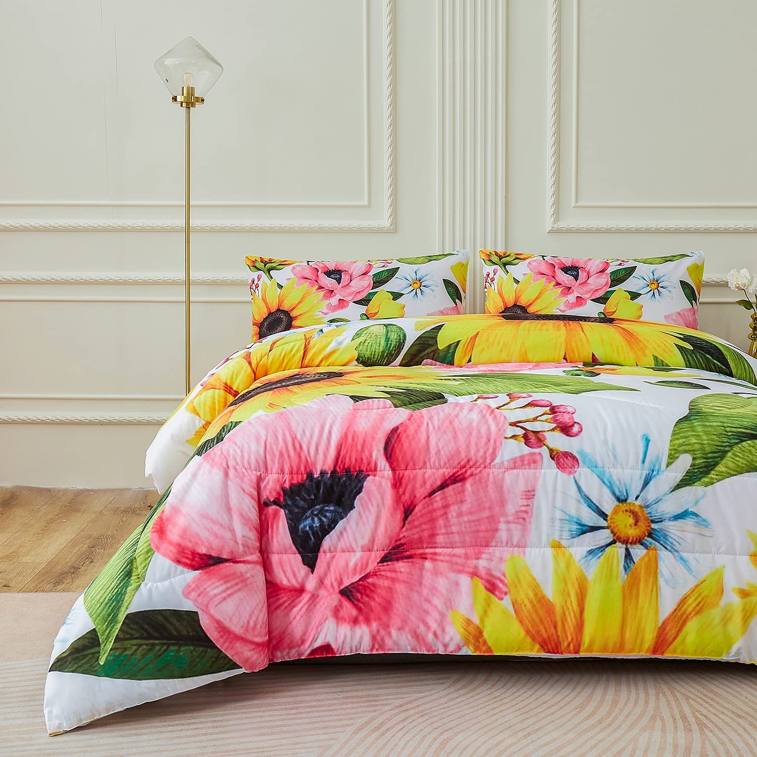 Twin Size Namoxpa Sunflower Comforter Sets,Beautiful Seamless Pattern with Sunflower Blue Butterflies on White Background,Decorative Bedding Comforter Sets with 2 Pillow Shams