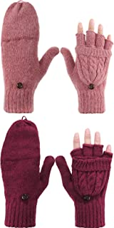 Tatuo 2 Pairs Women Fingerless Mittens Winter Convertible Gloves Knitted Half Finger Gloves with Cover