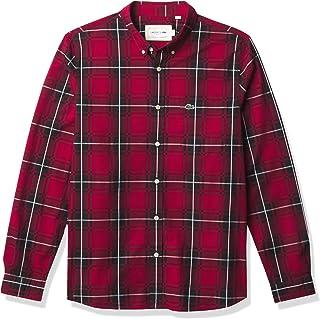Lacoste Men's Long Sleeve Plaid Slim Fit Poplin Shirt