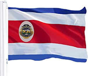 G128 - Costa Rica Costa Rican Flag 3x5 ft Printed Brass Grommets 150D Quality Polyester Flag Indoor/Outdoor - Much Thicker More Durable Than 100D 75D Polyester