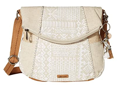 Sakroots Artist Circle Foldover Crossbody (White Tribal Brave Beauti) Cross Body Handbags