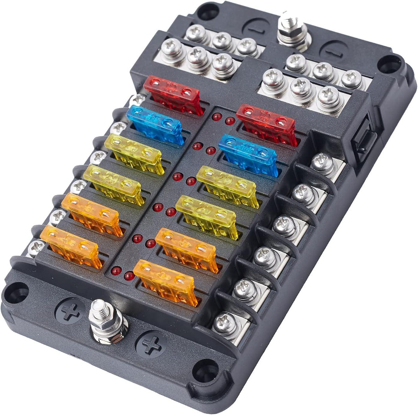buy 12 ways blade fuse box 12 volt fuse block 12 circuit negative bus with  led warning indicator damp-proof cover for 12v/24v automotive car boat bus  touring car (with 24 pcs fuses)  ubuy