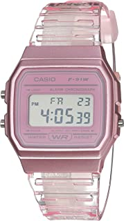 Quartz Watch with Resin Strap, Pink, 20 (Model: F-91WS-4CF)