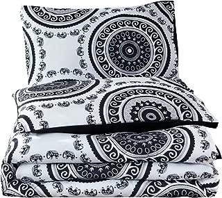 Meeting Story 3Pcs Microfiber Mandala Chic Boho Bohemian Sytle Circles Elephant Pattern Bedding Comforter Bedspread Quilt Sets (White-Black, Queen)