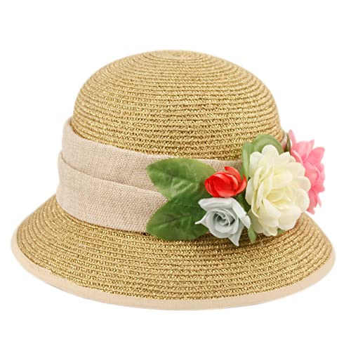 b87a3b920cdb7e Epoch Women's Gatsby Linen Cloche Hat With Lace Band and Flower