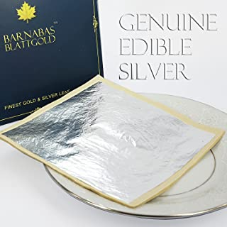 Edible Genuine Silver Leaf Sheets - by Barnabas Blattgold - Large 4.4 inches - 25 Sheets - Loose Leaf