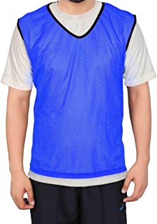 GSI Mesh Sports Training Bibs/Pinnies/Scrimmage/Vests for Soccer, Basketball, Football, Volleyball (Large, Blue - Pack of 6)
