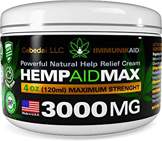 Premium 3000Mg Hemp Cream for Pain Relief - 4oz Pure Hemp Oil Extract - Made in USA - Extra Strength Natural Massage Lotion for Joint, Muscle, Knee, Back, Neck Inflammation - Topical Salve Balm