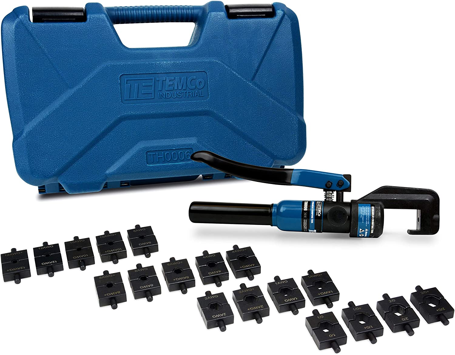 TEMCo TH0006 Hydraulic Cable Lug Crimper with 18 Die Sets