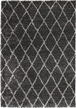 Home Culture Siesta Diamond Charcoal Grey Shag Rug- Durable Rugs for Bedroom, Living Room, High Traffic Areas of Home and Off