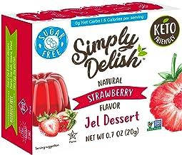 Simply Delish Natural Strawberry Jel Dessert - Sugar Free, Non GMO, Gluten Free, Fat Free, Vegan, Keto Friendly - 0.7 OZ (...