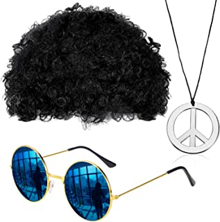 Hippie Costume Set Funky Afro Wig Sunglasses Necklace for 50/60/70s Theme Party (Style B) Beige