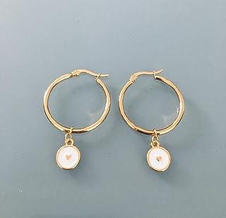 Cerchietti a cuore, orecchini creoli a cuore in oro e perle bianche e oro, creoli in oro, gioiello dorato, regali di gioie...