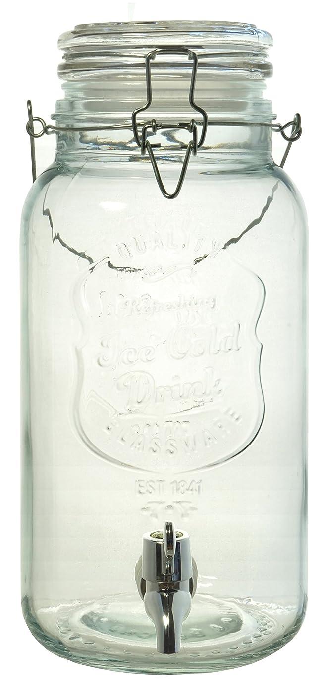 に対応セクション瞑想的ガラス製 ジャグ ドリンクサーバー 蛇口付き 透明 4L -