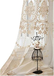 Aside Bside High Grade European Embroidery Sheer Curtain Rod Pockets Top Window Treatment Voile Panel Drape for Living Roo...