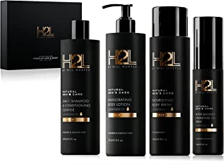 H2L Premium Men's Hair & Skin Care Collection - Gift Set with Nourishing Body Wash, 2-in-1 Restoring Shampoo & Conditioner, After-Shower Hydrating Body Oil and Moisturizing Lotion. By Hill Harper