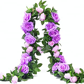 PARTY JOY 6.5Ft Artificial Rose Vine Silk Flower Garland Hanging Baskets Plants Home Outdoor Wedding Arch Garden Wall Decor,2PCS (Purple)