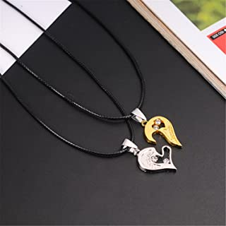 1 Set Unisex Women Men I Love You Heart Shape Pendant Necklace For Lovers Couples Jewelry Gift