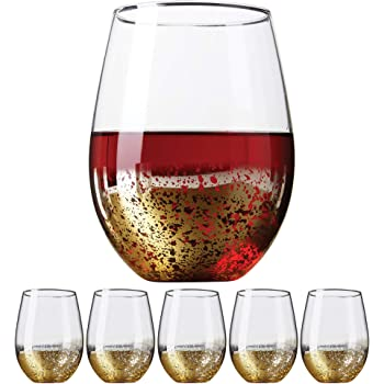 Clear Beach 20- Ounce Ideal for Red and White Wine Kitchen Glassware Drinking Glass Set Wedding and Party Gifts Tumbler Cup Water 4- Piece Amallino Stemless Wine Glasses Juice