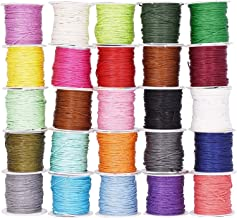Mandala Crafts 1mm Jewelry Making Crafting Beading Macramé Waxed Cotton Cord Thread (25 Assorted Colors)