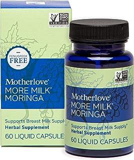 Motherlove More Milk Moringa (60caps) Fenugreek-Free Herbal Lactation Supplement—Supports Breast Milk Supply for Breastfee...