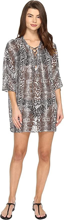 Snake Charmer Lace Front Tunic Cover-Up