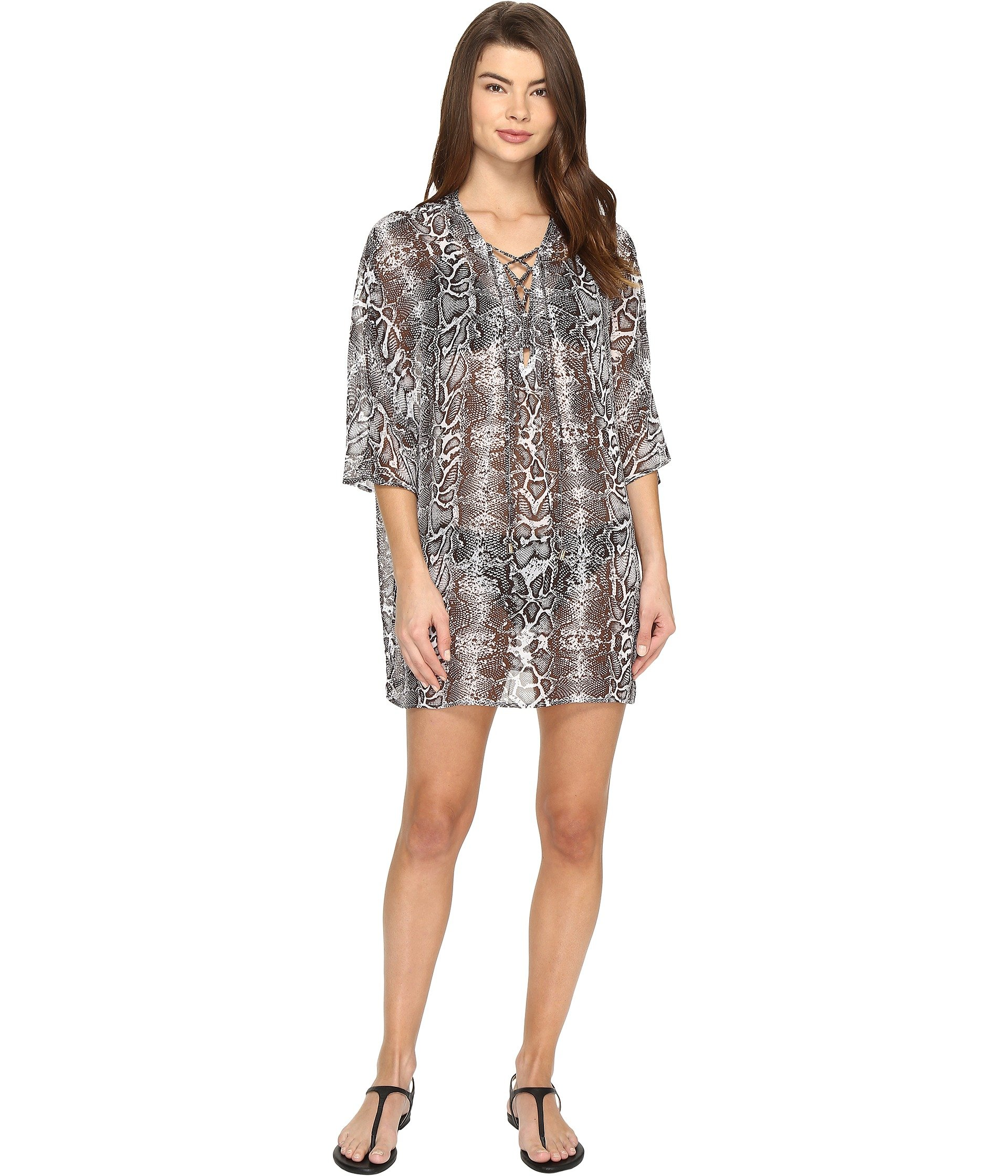 Tommy Bahama Womens Snake Charmer Lace Front Tunic Cover-up SM (US 6-8)