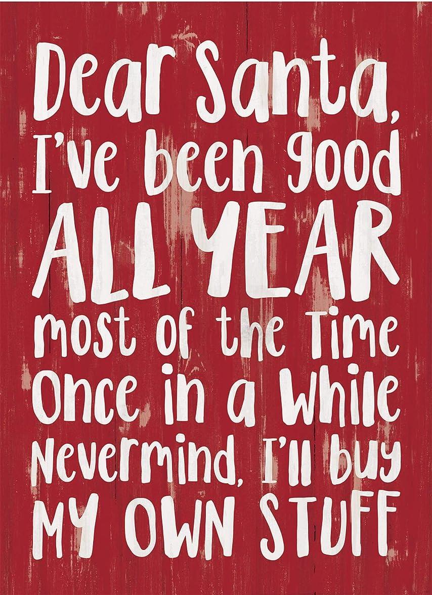 のスコア特に統合するDear Santa I've Been Good Rosy レッド 7.2 x 5.5インチ パインウッド クリスマス ワードブロック サイン