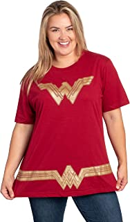 DC Comics Plus Size T-Shirt Wonder Woman or Supergirl Logo Belt Print Costume