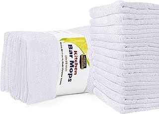 Serviettes de nettoyage de balais de cuisine (paquet de 12, 16 x 19 pouces) - Serviettes de cuisine blanches de coton pur,...