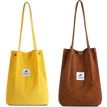 Makukke Umhängetasche Damen - 2pcs Cord Tasche Damen Schultertasche Shopper Damen Henkeltasche für Alltag, Büro, Schulausflug und Einkauf