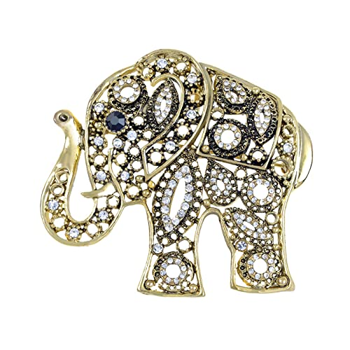 Small Antique gold Indian Elephant Brooch Gemstone /& Diamante Vintage style pin