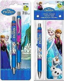 Disney Frozen Pens Set ~ Bundle Includes 3 Frozen Gel Pens with Frozen Olaf Anna Elsa Bookmark(Disney Frozen Office Suppli...