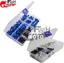 Flashmoto Motorcycle Screw Windshield Fairing Bolts Nuts Washer Kit Fastener Clips for suzukiGSXR1300 Hayabusa 2008 09 10 11 12 13 14 2015(Blue & Silver)