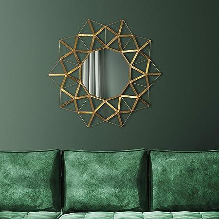 avec Cadre en m/étal Mural Couloir Relaxdays Miroir Rond Salle de Bain argent/é /à Suspendre Salon Moderne /Ø 61 cm