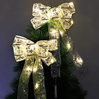 Mudder 2 Pieces Christmas Tree Bow LED Ribbon Bows Christmas Tree Ornaments Tree Topper Christmas Decoration for Home Christmas Tree Wreaths Decoration (Yellow Lights)