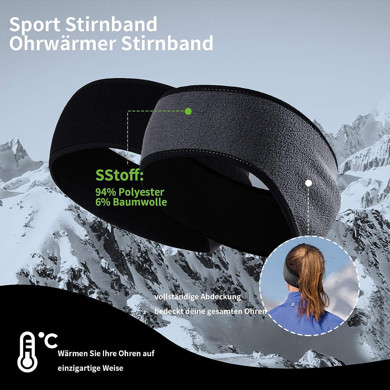 JTENG Ear Warmers Headband for Men Women Winter Sports Headband Earmuffs Fleece Ear Protection Warm Headband Windproof for Jogging Running Hiking Cycling